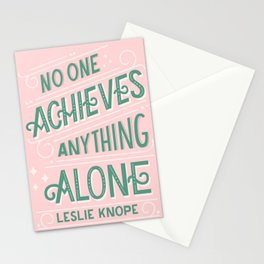 No One Achieves Anything Alone   Parks n Rec Quote   Leslie Knope   Inspirational Office Quote Stationery Cards