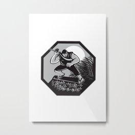 Samoan Ninja on top of Nipa Hut Retro Metal Print