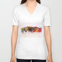 oakland V-neck T-shirts featuring Oakland skyline in watercolor background by Paulrommer
