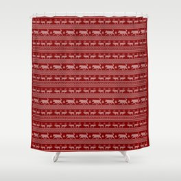 Ugly christmas sweater | Lapponian herder red Shower Curtain
