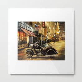 Indian Motorcycle City Scape USA Flag Metal Print