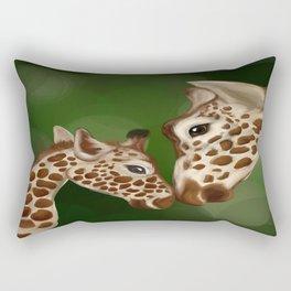 Giraffe and Baby, Hand Drawn Original Artwork Rectangular Pillow