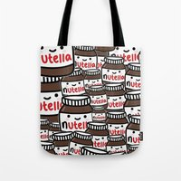 nutella Tote Bags featuring Nutella Love by Pink Berry Patterns