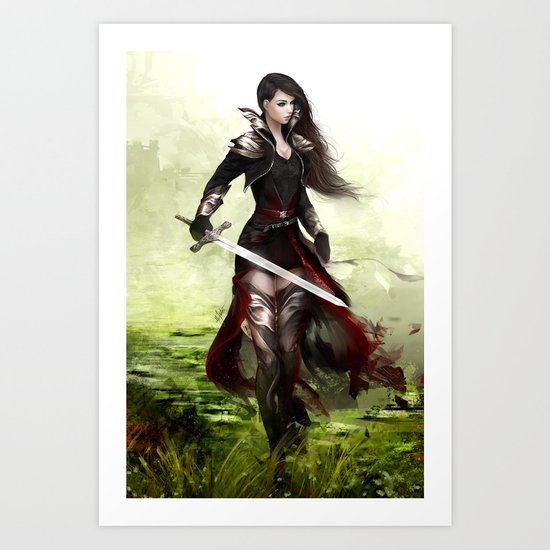 Lady knight - Warrior girl with sword concept art Art Print