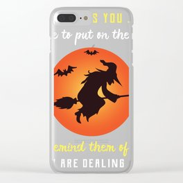 Halloween Creepy Witch Put On Hat Clear iPhone Case