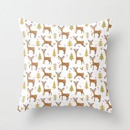 Pastel green brown cute Christmas deer festive pattern Throw Pillow