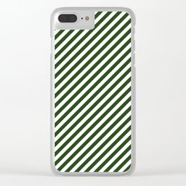 Small Dark Forest Green and White Candy Cane Stripes Clear iPhone Case