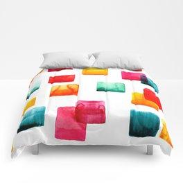 Full of watercolor squares Comforters