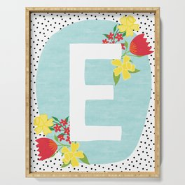 E botanical monogram. Letter initial with tulips and daffodils poster Serving Tray