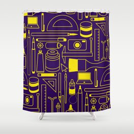 Art Supplies - Eggplant and Yellow Shower Curtain