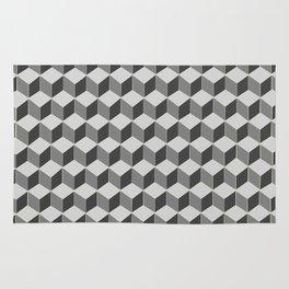 3d retro cubes in grey skies Rug