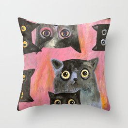 staring cats Throw Pillow