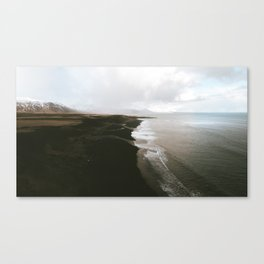 Moody black sand beach in Iceland - Landscape Photography Canvas Print