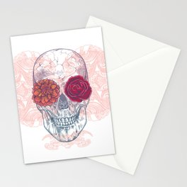 Double Flowers Skull Stationery Cards