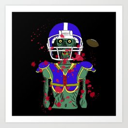 Zombie Football Player Art Print
