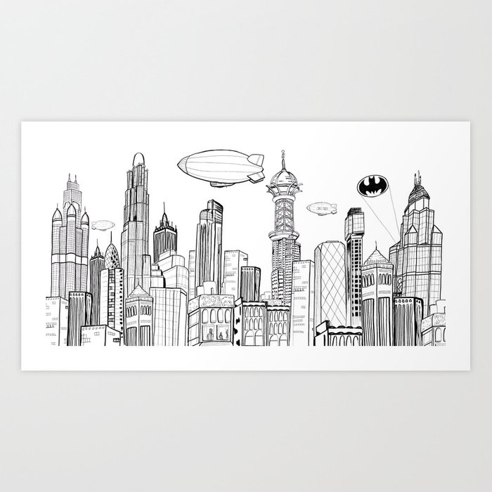 Gotham City Skyline Art Print By Charoden Society6