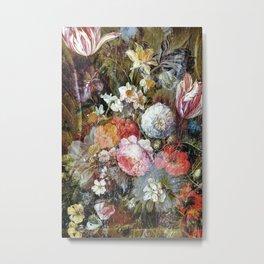 Worn vintage floral wood panel Metal Print