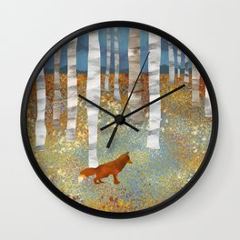 Autumn Fox Wall Clock