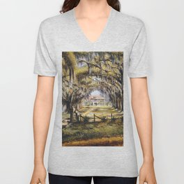 Classical African American Landscape 'Boone Hall Plantation' by Edwin Harleston Unisex V-Neck