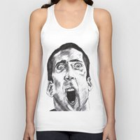 nicolas cage Tank Tops featuring NICOLAS CAGE in CHARCOAL face/off face off film movie cult by Radiopeach