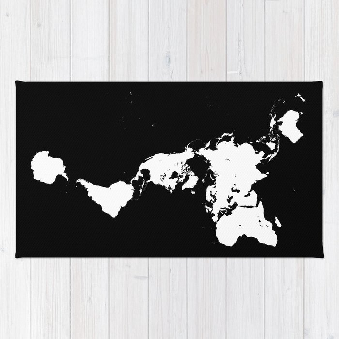 Dymaxion world map fuller projection map minimalist white on dymaxion world map fuller projection map minimalist white on black rug gumiabroncs Choice Image