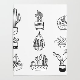 Minimalist Cacti Collection Black and White Poster