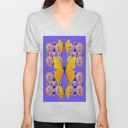 YELLOW BUTTERFLIES PINK ROSES ON LILAC COLOR ART Unisex V-Neck