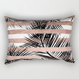 Trendy tropical palm trees chic rose gold stripes Rectangular Pillow