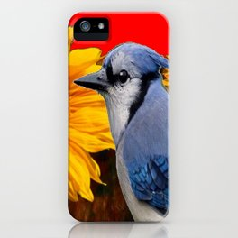 RED SUNFLOWERS  & BLUE JAY ART iPhone Case