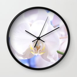 White Orchid Close-up #1 #decor #art #society6 Wall Clock