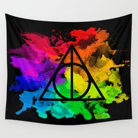 deathly hallows Wall Tapestries featuring Rainbow Hallows  by Kasiasaurr