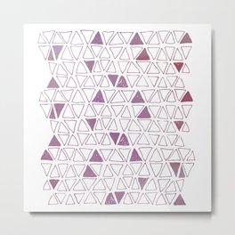Tribal Triangles in Fuschia Metal Print