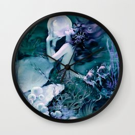 Henry Clive: Mermaid With A Pearl Teal Indigo Purple Wall Clock