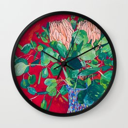 Two Proteas on Red, Pink, and Purple Floral Still Life with Fynbos Wall Clock