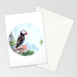Atlanic Puffin sitting on the rocks by the ocean Stationery Cards