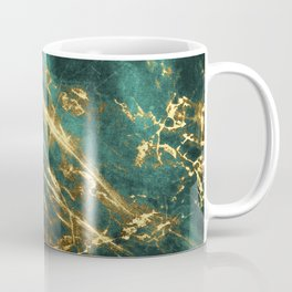 Glamorous Green Faux Marble Pattern With Gold Veins Coffee Mug