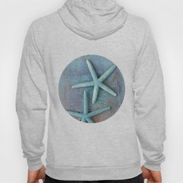 Turquoise Starfish on textured Background Hoody