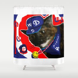"""BASEBALL WORLD SERIES, MY CHAMPION CAT LAD"" Shower Curtain"