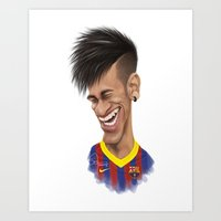 neymar Art Prints featuring Neymar - Barcelona by Sant Toscanni