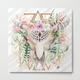 Skull boho and triangles Metal Print