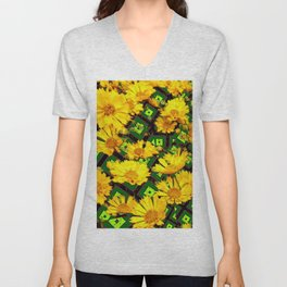 Golden Yellow Coreopsis Flowers Green-black Patterns Unisex V-Neck