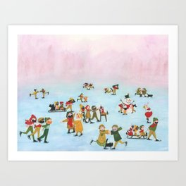 A Cold winter day - A Illustration of people spending there day iceskating Art Print