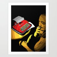 infamous Art Prints featuring Infamous Russian Writer by Skinny Gaviar