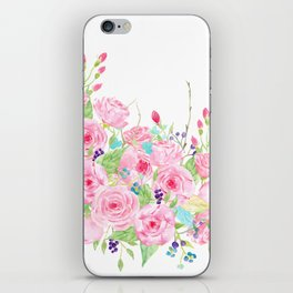 Watercolor Pink Rose Bouquet iPhone Skin