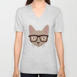 Hipster Siamese Cat Portrait Unisex V-Neck