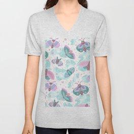 Abstract pink teal mint green cute butterflies Unisex V-Neck