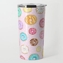 Scattered Rainbow Donuts on pale spotty pink - repeat pattern Travel Mug