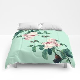 Roses Mint Green + Pink Comforters