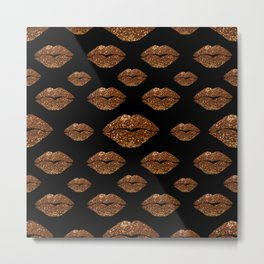 Rosegold Sparkle Kissing Lips Metal Print