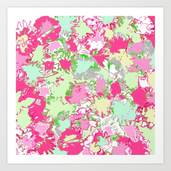 Sketchy Fun Flowers in Shades of Pink, Green and Yellow by jenartanddesign